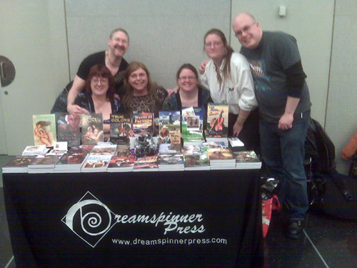 Dreamspinner Press, one of the fair's sponsors, had several authors in attendance (from left to right): Clare London, Andrew Grey, Carolyn LeVine Topol, Marguerite Labbe, Felicitas Ivey, Jeff Adams