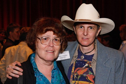 """Lesbian Cowboys"" editors Sacchi Green (L) and Rakelle Valencia at the 22nd Annual Lambda Literary Awards. Photo: Donna Aceto"
