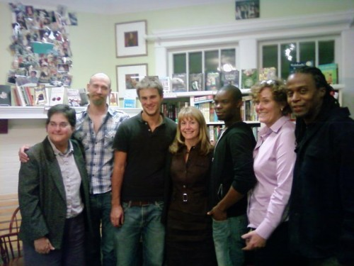 1. AQLF Opening Night at Charis Books featured poets and writers (from left): Alice Teeter, Timothy Wright, Bailey Lynn, Karen Head, Antron-Reshaud, Maudelle Driskell and Mose Hardin.