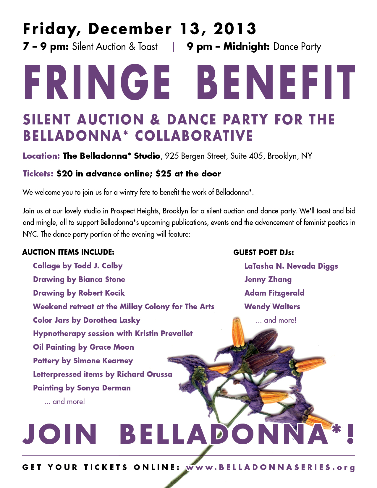 Fringe Benefit: A Silent Auction & Dance Party for the Belladonna* Collaborative