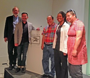 Steven Young, program director of the Poetry Foundation, and poets Ruben Quesada, Francisco Aragón, Duriel E. Harris, and Ching-In Chen
