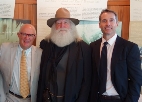 "(L to R, Rocco Staino, Director, Empire State Center for the Book, ""Walt Whitman,"" and S. Chris Shirley, Lambda Literary Board President)"