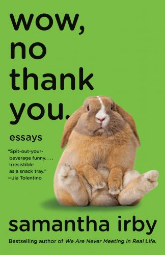 """cover of Samantha Irby's """"Wow, No Thank You."""" : a fluffy brown bunny seated on a green background"""