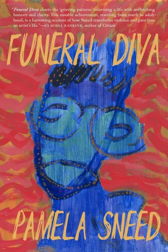 """cover of Pamela Sneed's """"Funeral Diva"""": abstract painting of a blue person on a mottled red and orange background"""